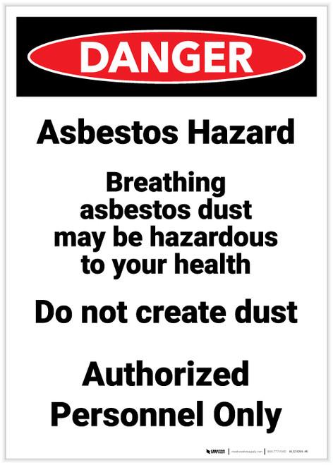 Danger: Asbestos Hazard Breathing Portrait - Label