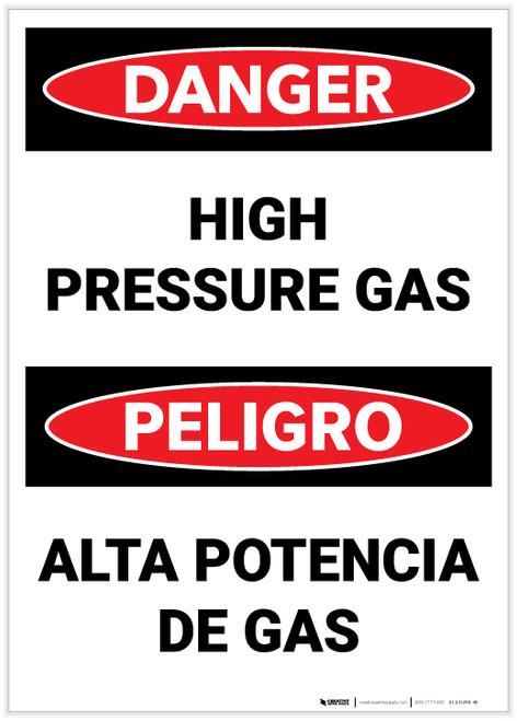 Danger: Bilingual High Pressure Gas - Label
