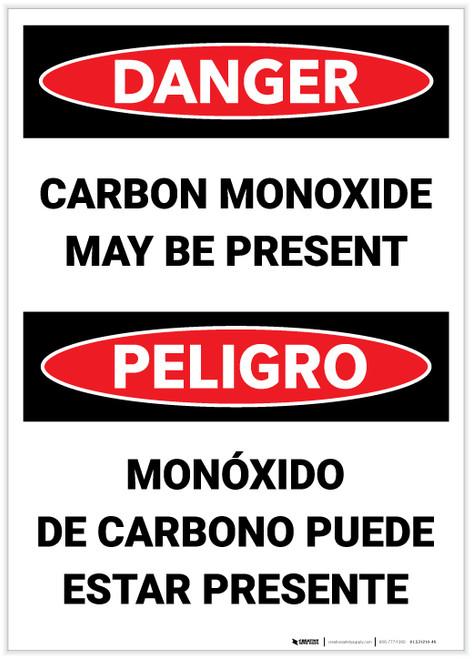 Danger: Carbon Monoxide May Be Present Bilingual - Label