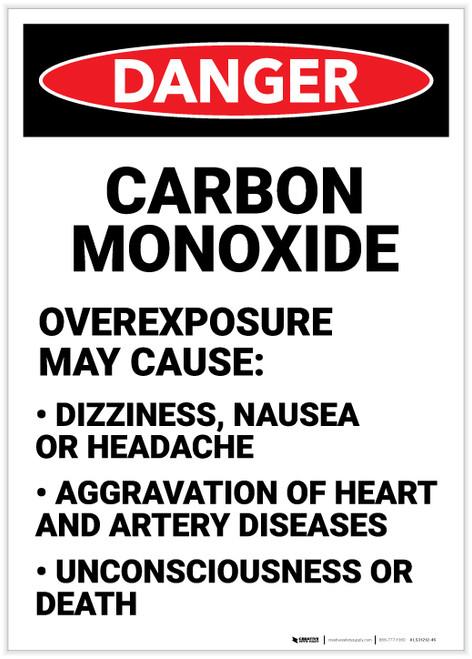Danger: Carbon Monoxide Causes Portrait - Label