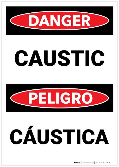 Danger: Caustic Bilingual - Label