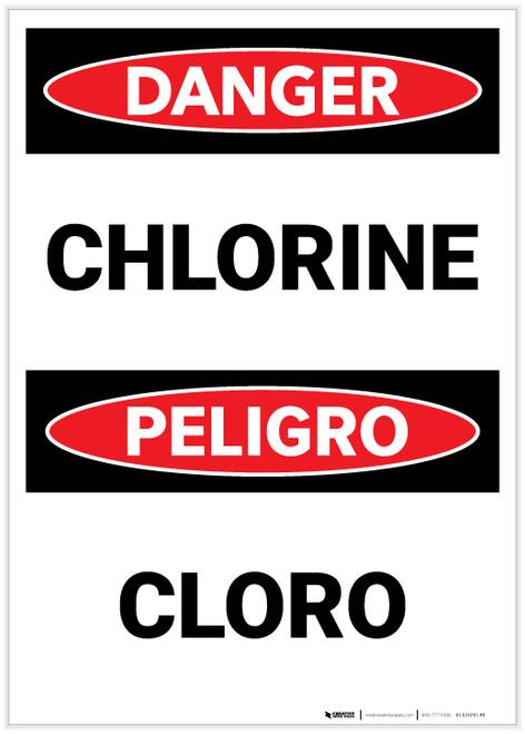 Danger: Chlorine Bilingual - Label