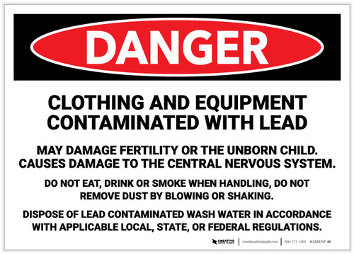 Danger: Clothing And Equipment Contaminated with Lead Hazards - Label