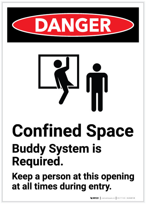 Danger: Confined Space Buddy System Is Required Portrait - Label