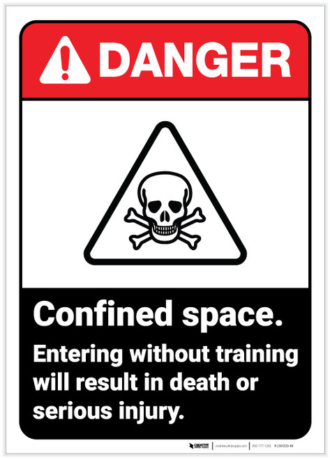 Danger: Confined Space Do Not Enter Without Training Portrait ANSI - Label