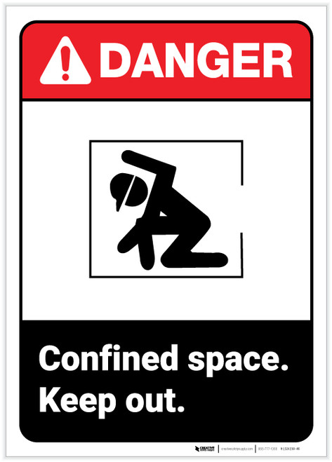 Danger: Confined Space Keep Out ANSI - Label