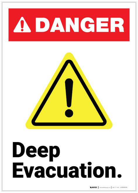 Danger: Deep Evacuation ANSI Portrait - Label