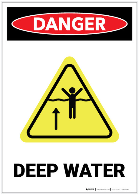 Danger: Deep Water Portrait with Graphic - Label