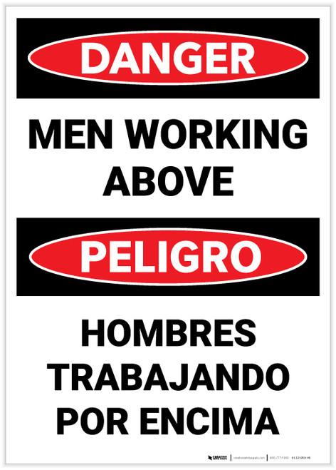 Danger: Men Working Above Bilingual - Label