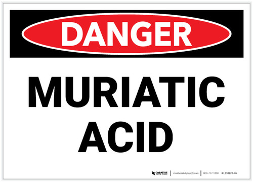 Danger: Muriatic Acid - Label