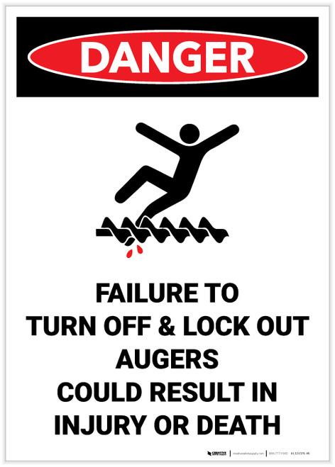 Danger: Lock Out Auger Safety - Label