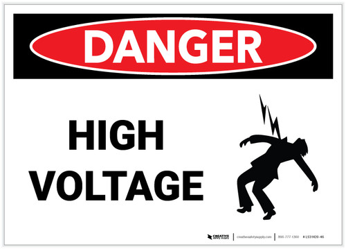 Danger: High Voltage with Graphic - Label