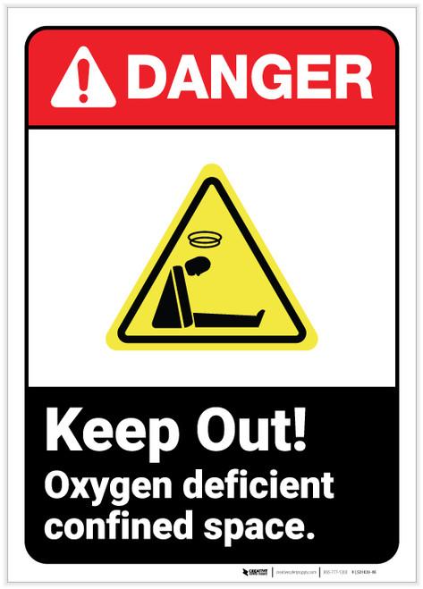 Danger: Keep Out Oxygen Deficient ANSI - Label