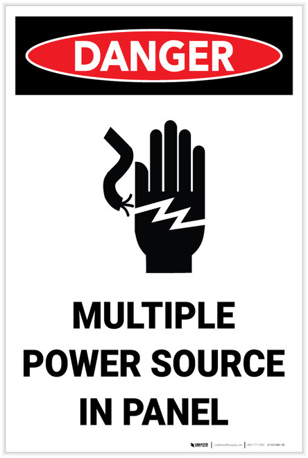 Danger: Multiple Power Source in Panel - Label