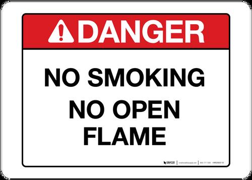 Danger - No Smoking  No Open Flame - wall sign