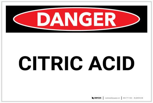 Danger: Citric Acid - Label