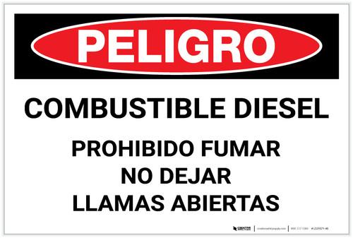 Danger: Combustible Diesel No Smoking No Open Flames - Spanish - Label