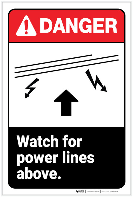 Danger: Watch for Power Lines Above ANSI - Label