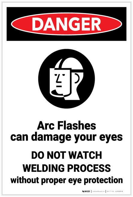 Danger: Arc Flashes Damages Eyes Wear PPE with Graphic - Label
