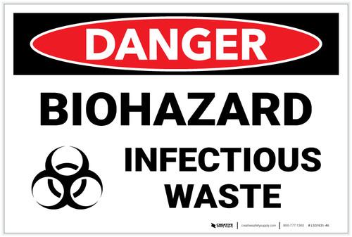 Danger: Biohazard Infectious Waste - Label