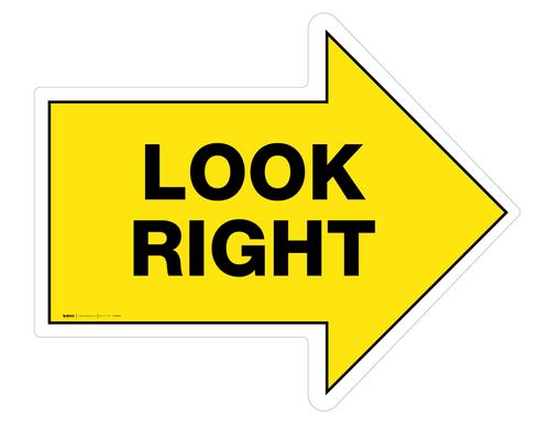 Look Right - Floor Sign