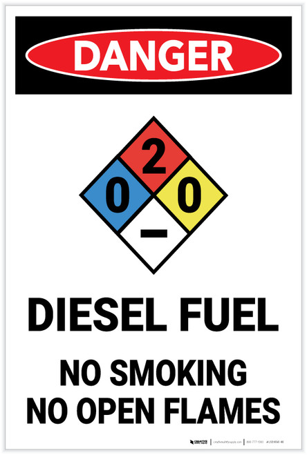 Danger: Diesel Fuel No Smoking With NFPA Symbol - Label