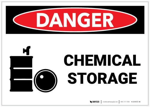 Danger: Chemical Storage with Graphic - Label