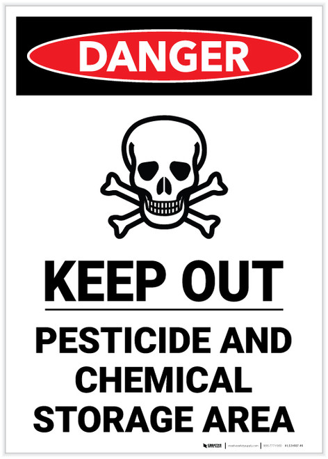 Danger: Keep Out Pesticide And Chemical Storage Portrait - Label