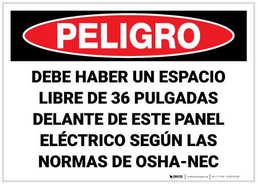 Danger: Keep Area Clear Electrical Panel Spnish - Label
