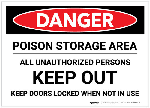 Danger: Poison Storage Area Keep Out Keep Doors Locked - Label