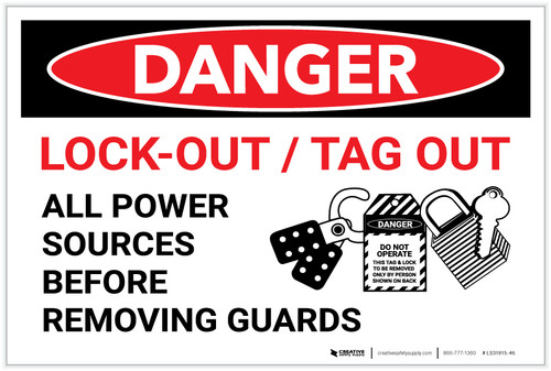 Danger: Lock Out Tag Out With Graphic - Label