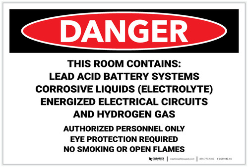 Danger: Room Contains Lead Acid Battery Systems - Label