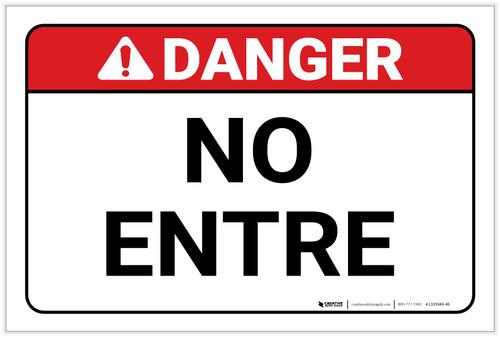 Danger: Spanish Do Not Enter - Label