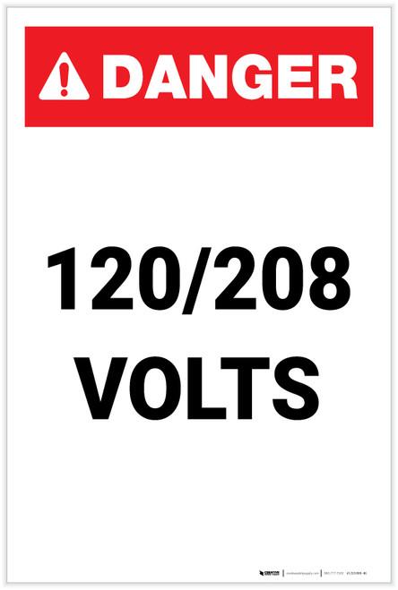 Danger: 120-208 Volts Portrait - Label