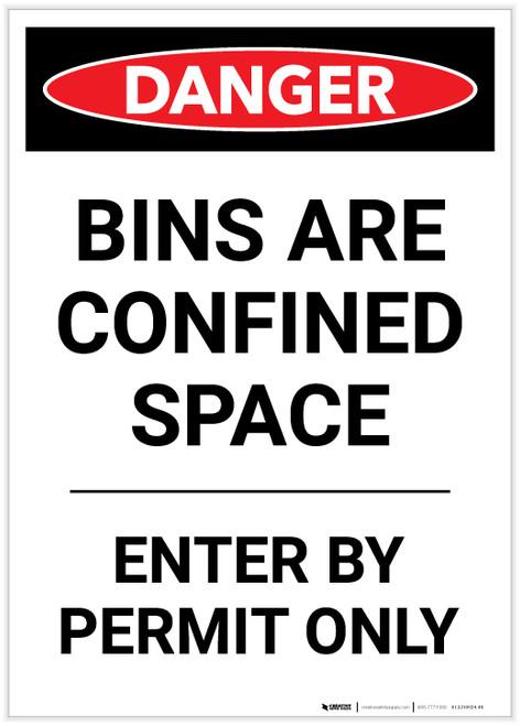 Danger: Bins Are A Confined Space Portrait - Label