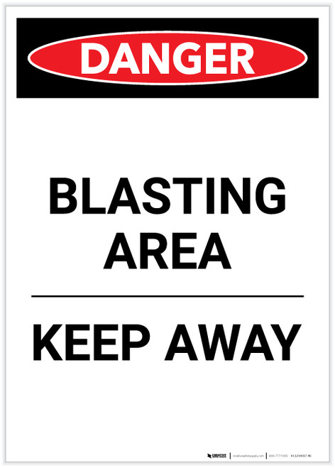 Danger: Blasting Area Keep Away Portrait - Label