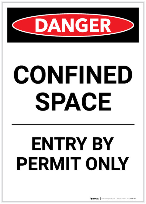 Danger: Confined Space Entry By Permit Only Portrait - Label