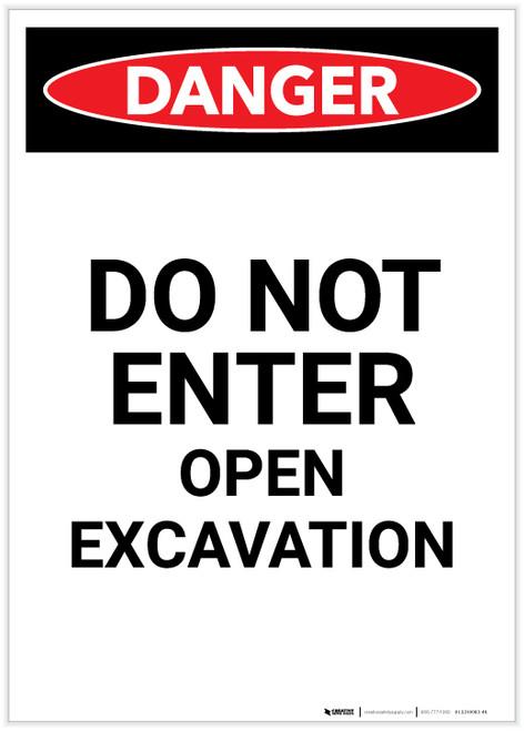 Danger: Do Not Enter Open Excavation Portrait - Label