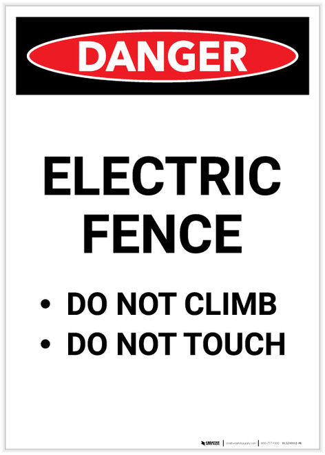 Danger: Electric Fence Do Not Climb or Touch Portrait - Label
