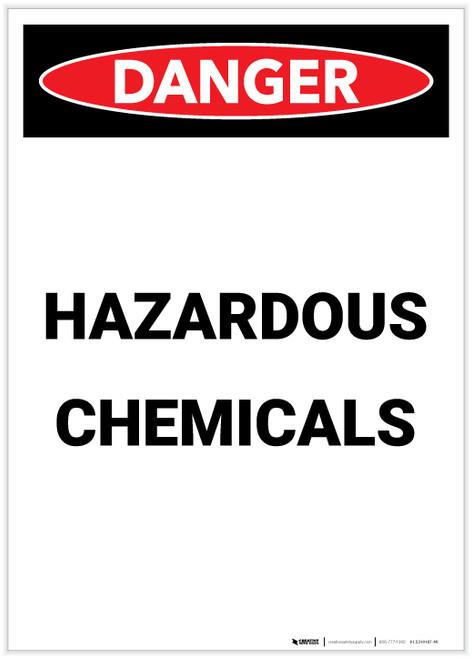 Danger: Hazardous Chemicals Portrait - Label