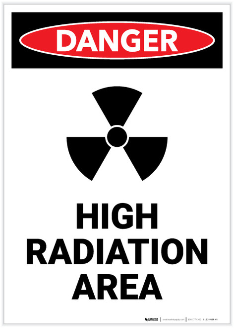 Danger: High Radiation Area with Icon Portrait - Label