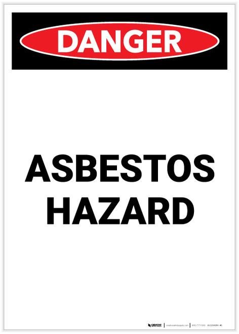 Danger: Asbestos Hazard Portrait - Label