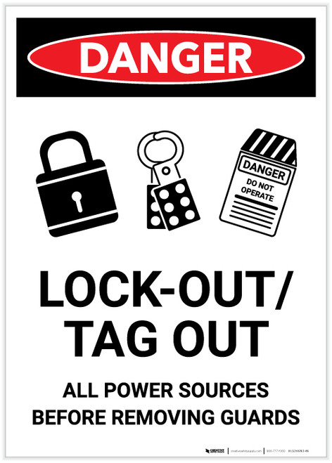 Danger: Lock Out Power Before Removing Guards Portrait - Label