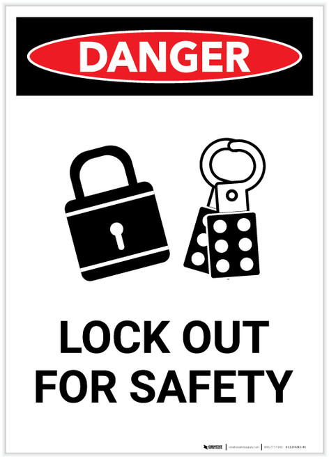 Danger: Lock Out Tag Out Must Be Performed Portrait - Label