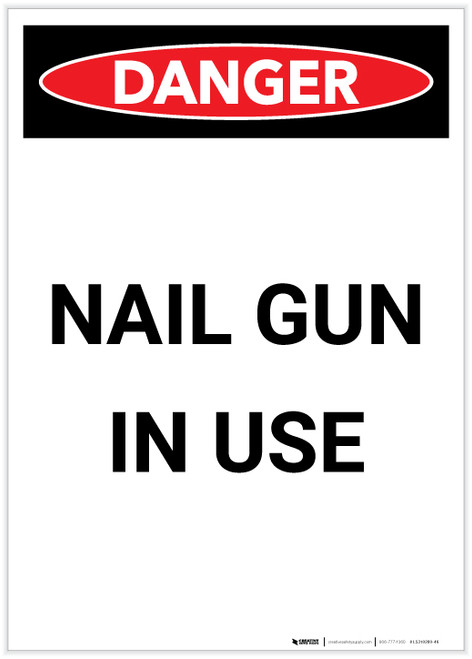 Danger: Nail Gun in Use Portrait - Label