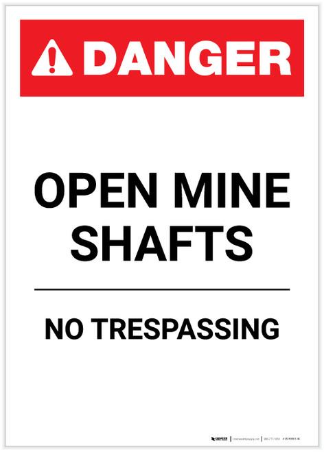 Danger: Open Mine Shafts Portrait - Label