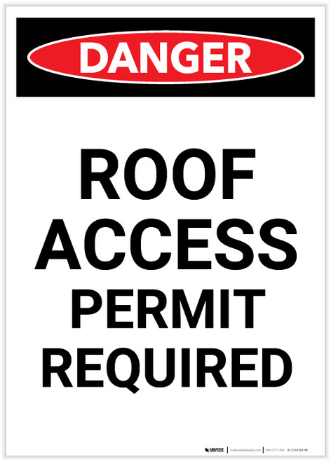 Danger: Roof Access Permit Required Portrait - Label