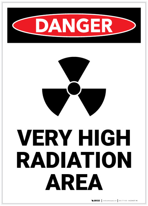 Danger: Very High Radiation Area with Icon Portrait - Label