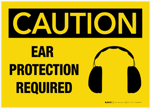 Caution: Ear Protection Required - Label