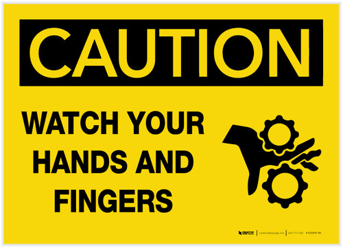 Caution: Watch Your Hands and Fingers with Graphic - Label